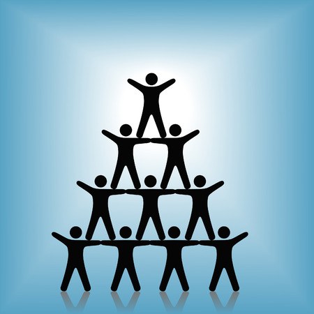 A group of people team up in a pyramid, to celebrate success, teamwork, cooperation, winning, etc.