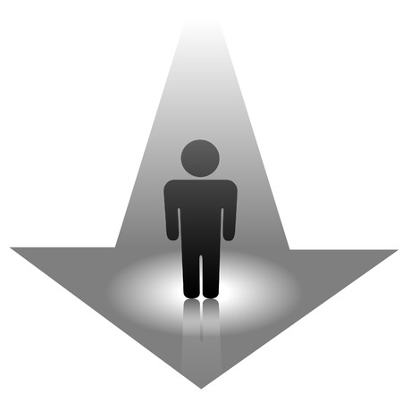 A universal person symbol approaches, arrives on an arrow. The man is in a spotlight. Stock Vector - 2774712