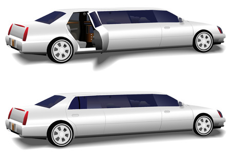 prom: A white limousine set of two versions: rear limo closed and limo door open invitingly to the interior, for prom and business travel, wedding celebration transportation.