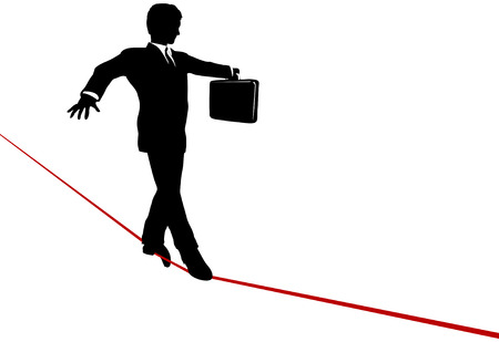 insure: A business man walks a high wire tightrope, above risk and danger, the businessman balances with a briefcase.