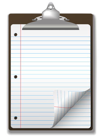 educational materials: Pages of blue lined school ruled notebook paper - page curl flip and drop shadows- on a clipboard. Easily tilt or otherwise edit it.