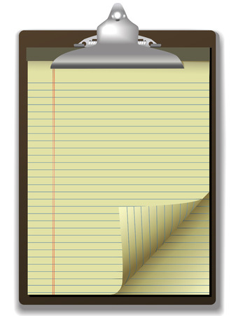 Pages of yellow legal ruled notebook pad paper - page curl flip and drop shadows- on a clipboard. Easily tilt or otherwise edit it. Stock Vector - 2814261