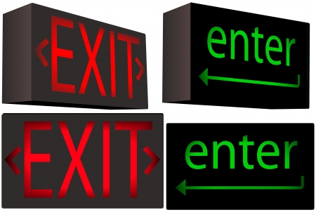 exit sign: A set of 2 Inner Illuminated Box Signs each from 2 angles: red EXIT and green enter key, with direction arrows.