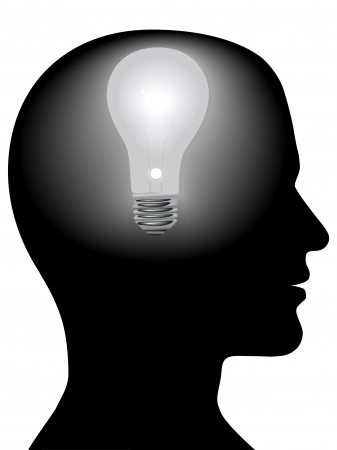 man face profile: A light bulb shines in the head of a thinking man, concept of a bright idea, invention, inspiration, mind.
