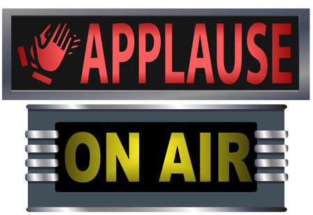 ad: Big bright ON AIR and APPLAUSE signs for your theater, broadcasting studio, website, banner ad, and music needs.