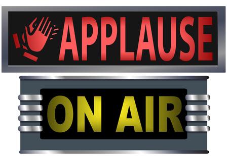 Big luminoso ON AIR applausi e le indicazioni per il vostro teatro, la radiodiffusione in studio, sito web, banner, e ha bisogno di musica. Vettoriali