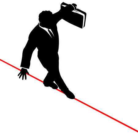 acrobatic: A business man walks a high wire tightrope, above risk and danger, the businessman balances with a briefcase.