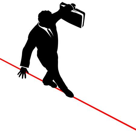 비즈니스 남자 위험과 위험 위의 높은 와이어 줄 타기를 산책, 사업가 서류 가방을 균형 조정.