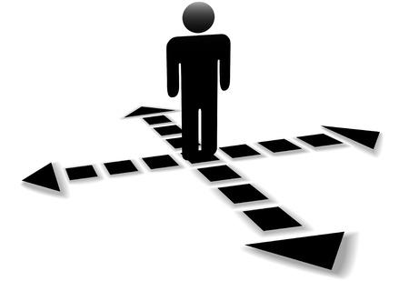 cruce de caminos: Cuatro puntos de flechas apuntan en 4 direcciones, punto de paso, en la intersecci�n de decisi�n de una persona.