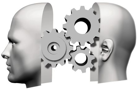 machine man: A male human head, face front and back of head, with machine gears thinking inside.