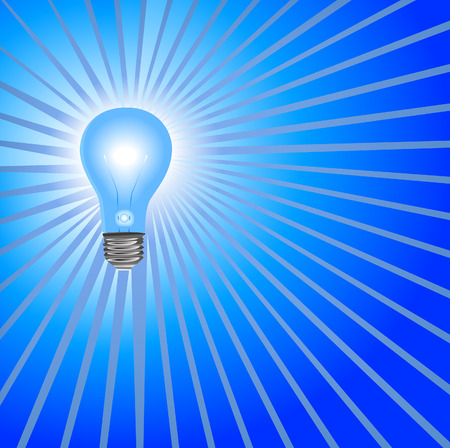 Idea Light Bulb Background in Blue: A super bright light bulb to shine on your bright ideas. Stock Vector - 2894578