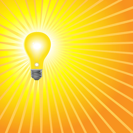 Idea Light Bulb Background in Yellow: A super bright light bulb to shine on your bright ideas. Ilustração