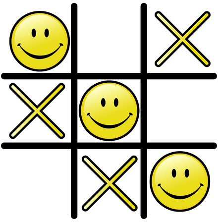 A good attitude wins a victory. A winning Smiley Happy Face & a Tic Tac Toe game! Vector