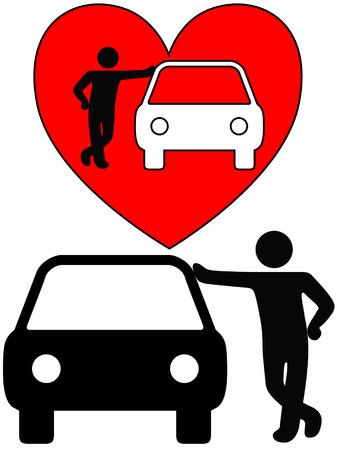 Liebe das Auto! Ein Symbol, wie eine liebevolle Person Fahrzeugbesitzer stützt sich auf ein Auto oder eine Silhouette von einem Händler oder Mechaniker Gestützt auf ein Auto.