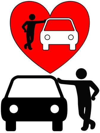 car isolated: Love the car! A symbol person as a loving car owner leans on a car, or a silhouette of a dealer or mechanic leaning on a car. Illustration