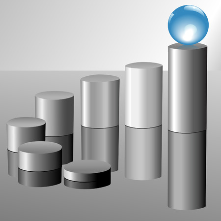 A business financial progress chart made of shiny metallic cylinders with reflections, & a shiny blue crystal ball on top. Vector