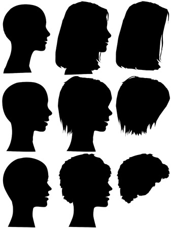 silhouettes: 3 profile silhouettes of women & silhouettes of beauty salon hair styles. Long hair, short hair, curly hair. Mix & match the element, each is on its own layer. Illustration