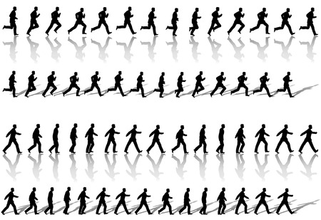 A business man runs & power walks to success in animation sequence frame loops, with reflection and shadow. Use cels as elements,  sequences as borders. Illustration
