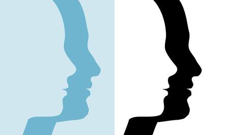 Hombres y Mujeres perfil siluetas, 2 parejas en azul y blanco y negro, s�mbolos de las personas.  Foto de archivo - 3022296