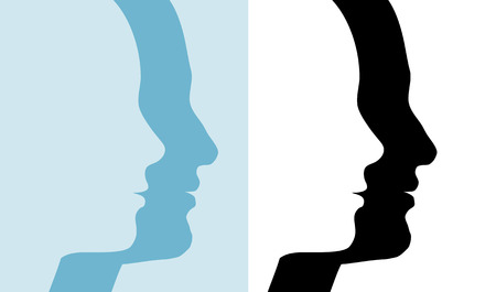 male profile: Male & Female profile silhouettes; 2 couples in blue and black and white, symbols of people.
