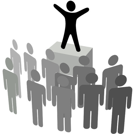 A speaker addresses an audience, in a business address, political campaign, or announcement. Vector