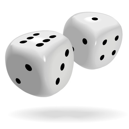 six objects: A pair of fat shiny dice roll a lucky seven, good luck to win a gambling game. Illustration