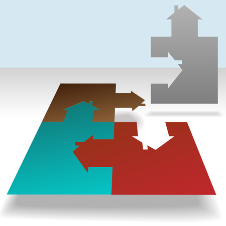 residential neighborhood: A jigsaw puzzle of a homes, each piece a house. Solve the real estate puzzle.