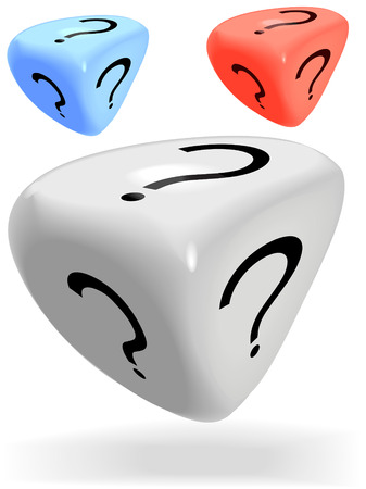 Three shiny 3 sided mystery dice roll a lucky question mark, in red, blue and white.
