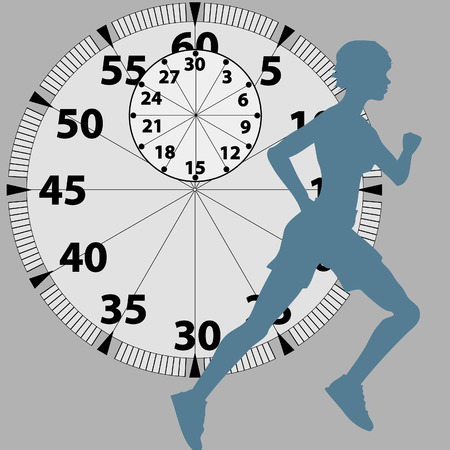 A female athlete runs and races against time in front of a stopwatch background. Vector