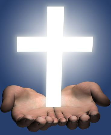 evangelism: Hands of a man (a 3D render) hold or offer a bright shining white cross.