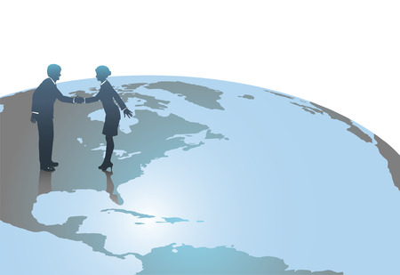 deal in: Business people, man and woman, meet in handshake to close a deal in the US on a world globe.