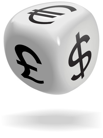 A shiny dice cube rolls currency symbols of money exchage game: dollar; euro; pound. Illustration