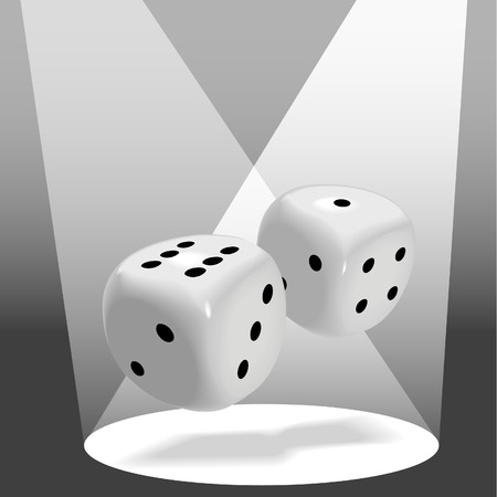 six objects: A pair of fat shiny dice roll a lucky seven in a spotlight on stage, good luck to win a gambling game.