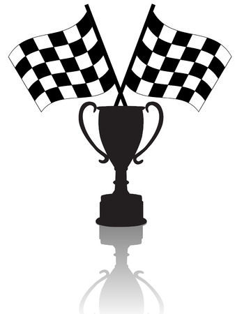 Silhouettes of Crossed checkered flags & a victory trophy cup, symbols of winning. With reflection.