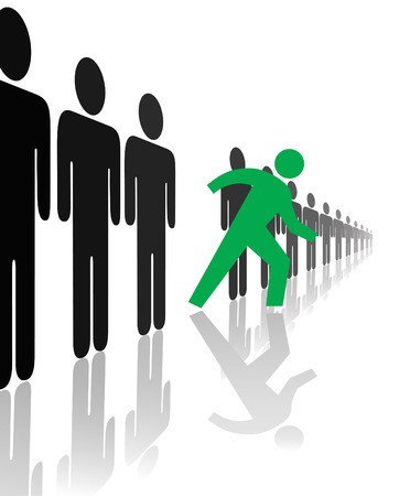 innovator: A bold green symbol person steps forward out line from the crowd, with reflections.