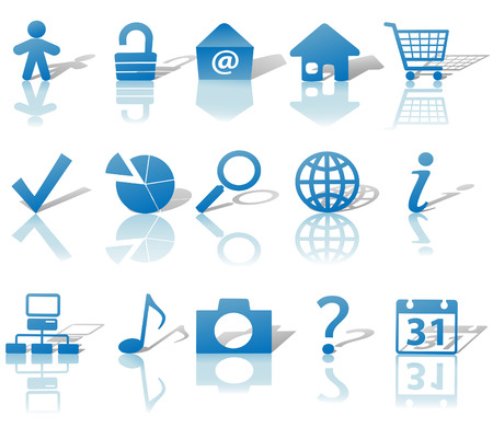 Blue Icon Symbol Set: Globe Security Question Email People, etc. On white with shadows & reflections.