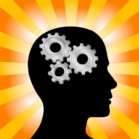 brain and thinking: Gear symbol in the head of a thinking silhouette man on a background of orange red rays. Illustration