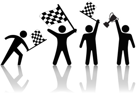 race winner: Symbol people win the victory trophy in a race or any competition: checkered flag & symbols of winning.