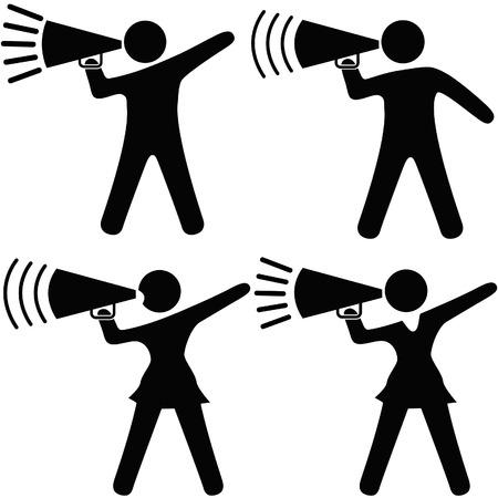 A set of symbol people including cheerleaders shout cheers, announcements, your copy into megaphones. Stock Illustratie