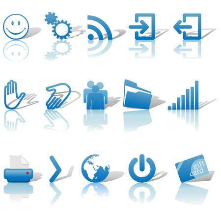 Blue Icon Symbol Set 2: Printer; Gears; Chart; Earth; People; RSS; etc. On white with shadows & reflections. Stock Vector - 3174363