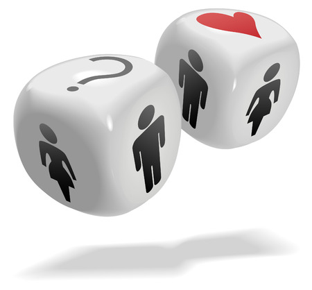 randomness: Concepts on 2 shiny dice cubes: Luck, , People, Gamble, Risk, Randomness, Romance