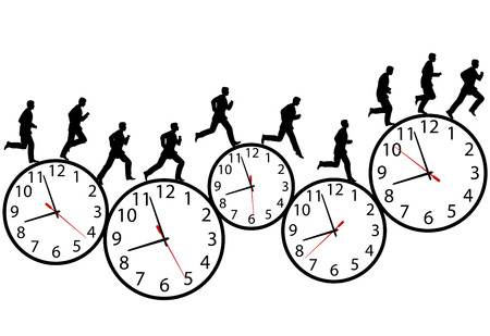 A business man runs in a hurry runs on time. Through the business day on a row of time clocks. Animation-like sequence of frames.