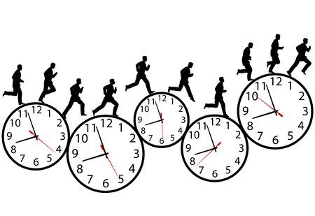 Un hombre de negocios corre a toda prisa se ejecuta en tiempo. A través del día laborable en una fila de relojes de tiempo. Animación-como secuencia de fotogramas.  Ilustración de vector