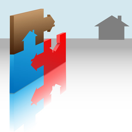 A jigsaw puzzle of colorful homes, each piece a house. Solve the real estate puzzle.