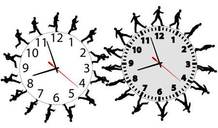 Business men run and walk in a hurry on time. Through the business wok day on time clocks like gears. Vector