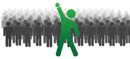 A standout leader ahead of a large crowd or team of people celebrates success with raised fist. Vector