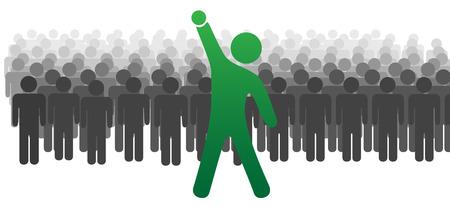 bras lev�: Un chef standout devant une grande foule ou une �quipe de personnes c�l�bre avec succ�s Raised Fist.