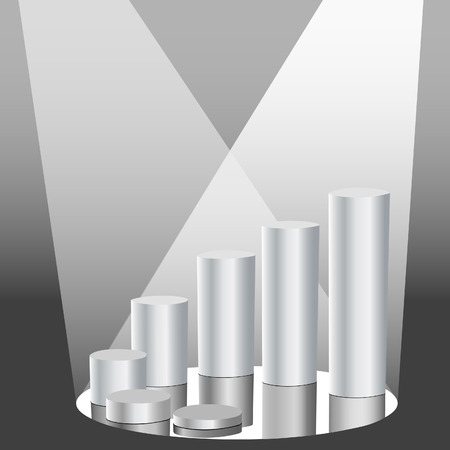 Spotlight on a bright future: A business financial progress chart made of shiny metallic cylinders with reflections. Vector