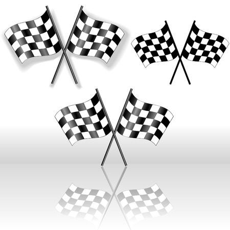 victory: A set of crossed checkered flags, with drop shadow and with reflection. Icons, Symbols of victory.