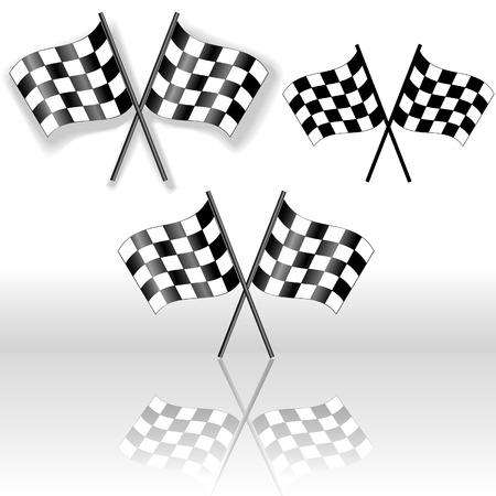 checker flag: Un conjunto de banderas checkered cruzado, con la sombra cayente y con la reflexi�n. Los iconos, los signos de victoria.